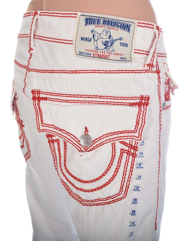 Mens White True Religion jeans Size 33 Mega T Straight ...