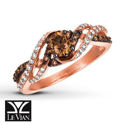 Kay Le Vian Chocolate Diamonds 3 4 Ct Tw Ring 14k Strawberry Gold Chocolate Diamond Ring Chocolate Diamond Ring Engagement Chocolate Diamonds