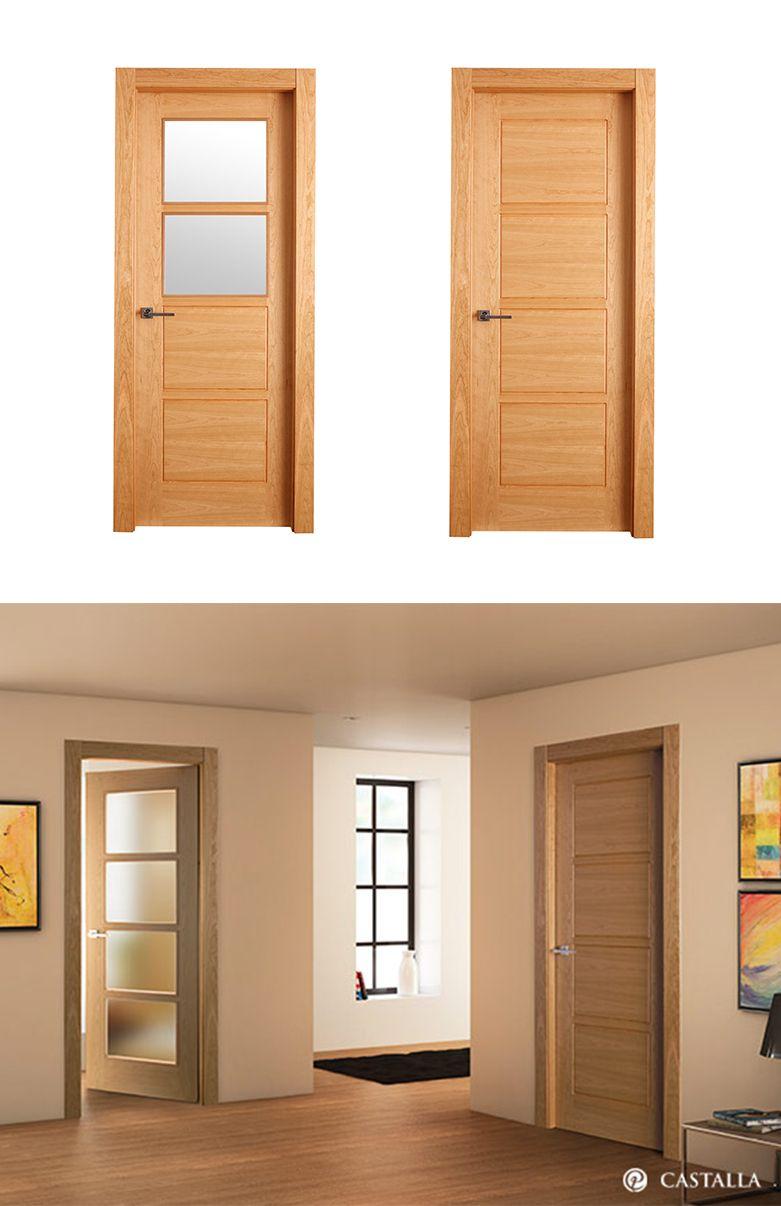 Puerta de interior clara modelo topacio de la serie euro for Puertas de madera para habitaciones