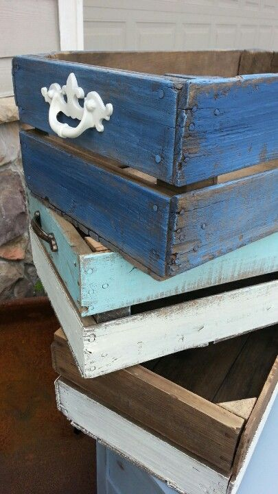 Beach Nautical Inspired Vintage Painted Wood Apple Crates Apple Crates Wood Crates Wood Apples