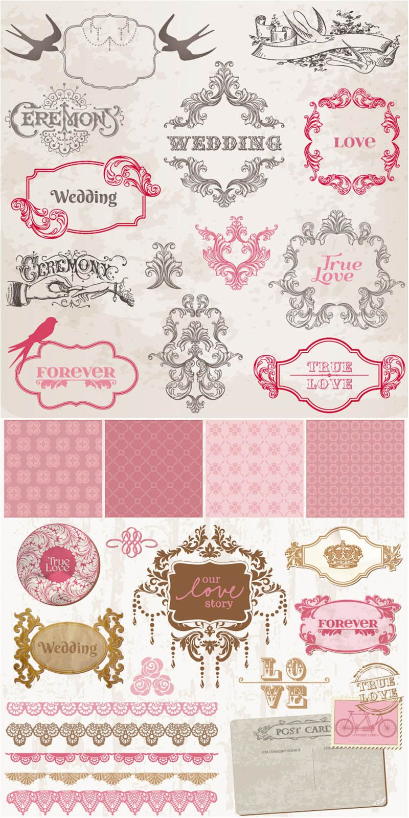My favorite place to snitch eps art for invitations hobbies set of vector vintage decorative wedding frames patterns badges and wedding embellishment elements for your invitation cards decorations etc stopboris Image collections