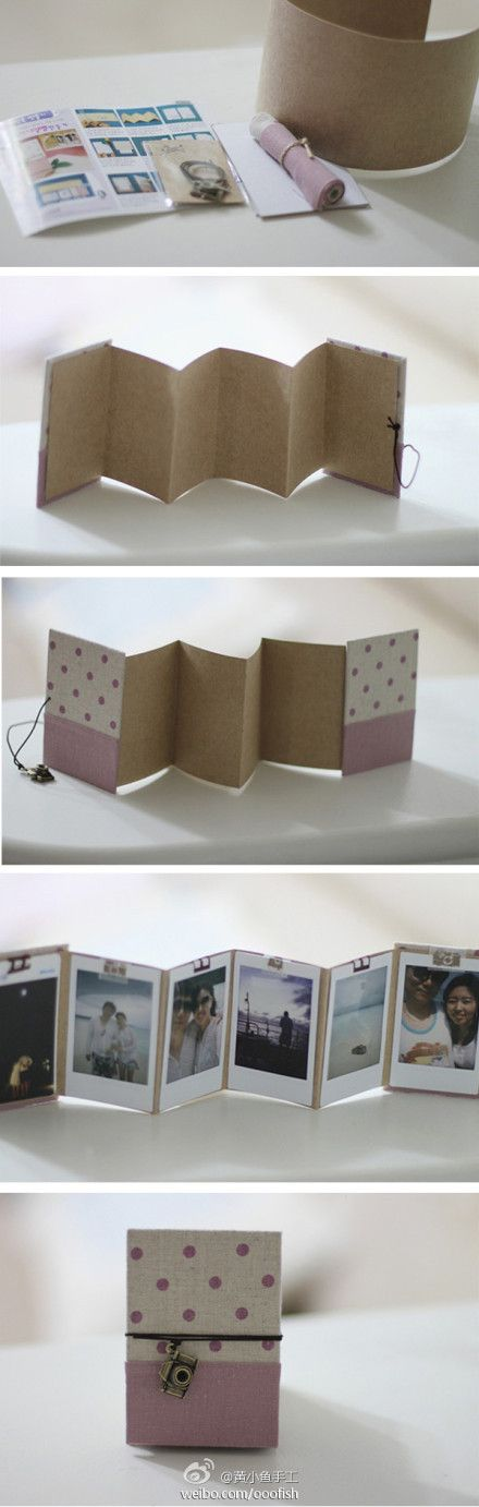 this is very cute, and a great idea for those instax mini 8 photos...not sure where the original picture is from, and it looks like a kit, but the idea is simple enough...