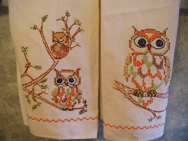 Antique hand towels vintage hand embroidered tea towels owls by antique hand towels vintage hand embroidered tea towels owls by luvvinjewels on etsy bankloansurffo Images
