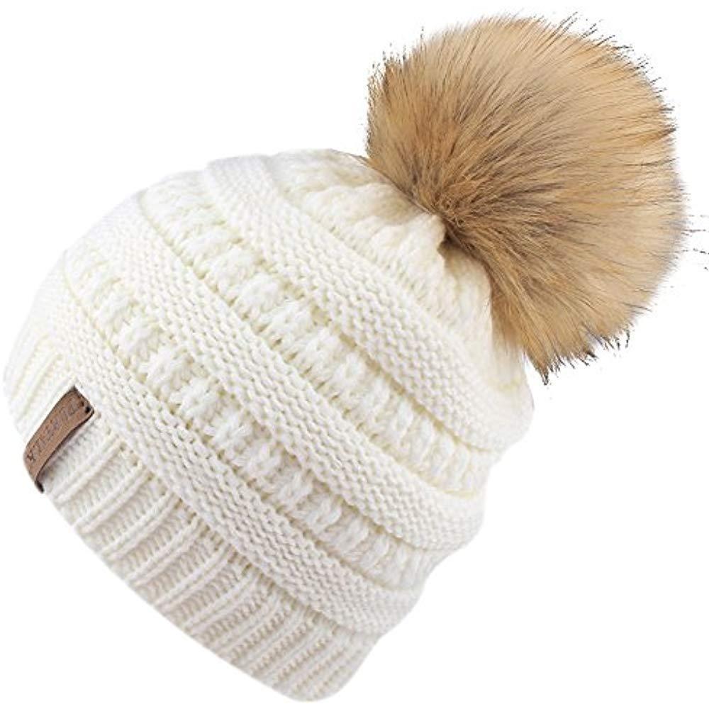 Kids Girls Boys Winter Knit Beanie Hats Faux Fur Pom Bobble Ski Cap Toddler  Baby   64559b1309d3