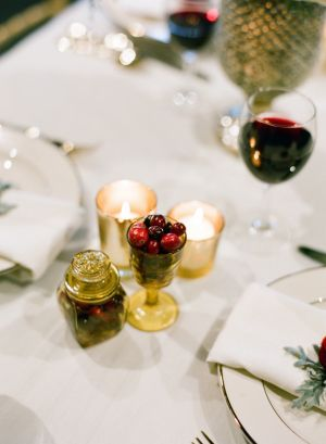 Gold & Red Berry Winter Reception Table Decor