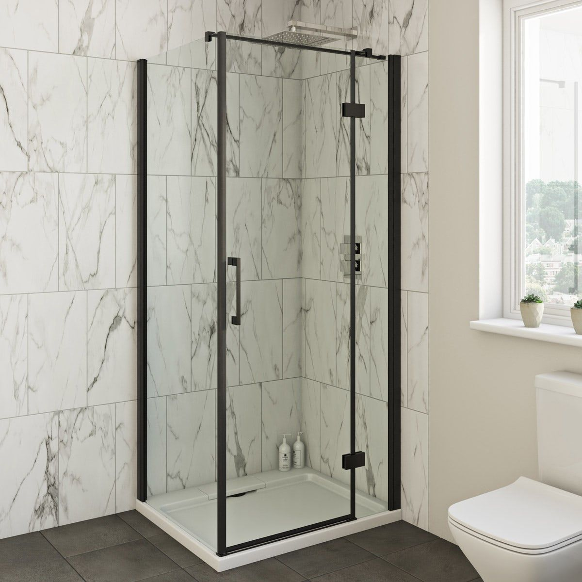 Mode Cooper 8mm Black Hinged Shower Enclosure Shower Enclosure Rectangular Shower Enclosures Quadrant Shower