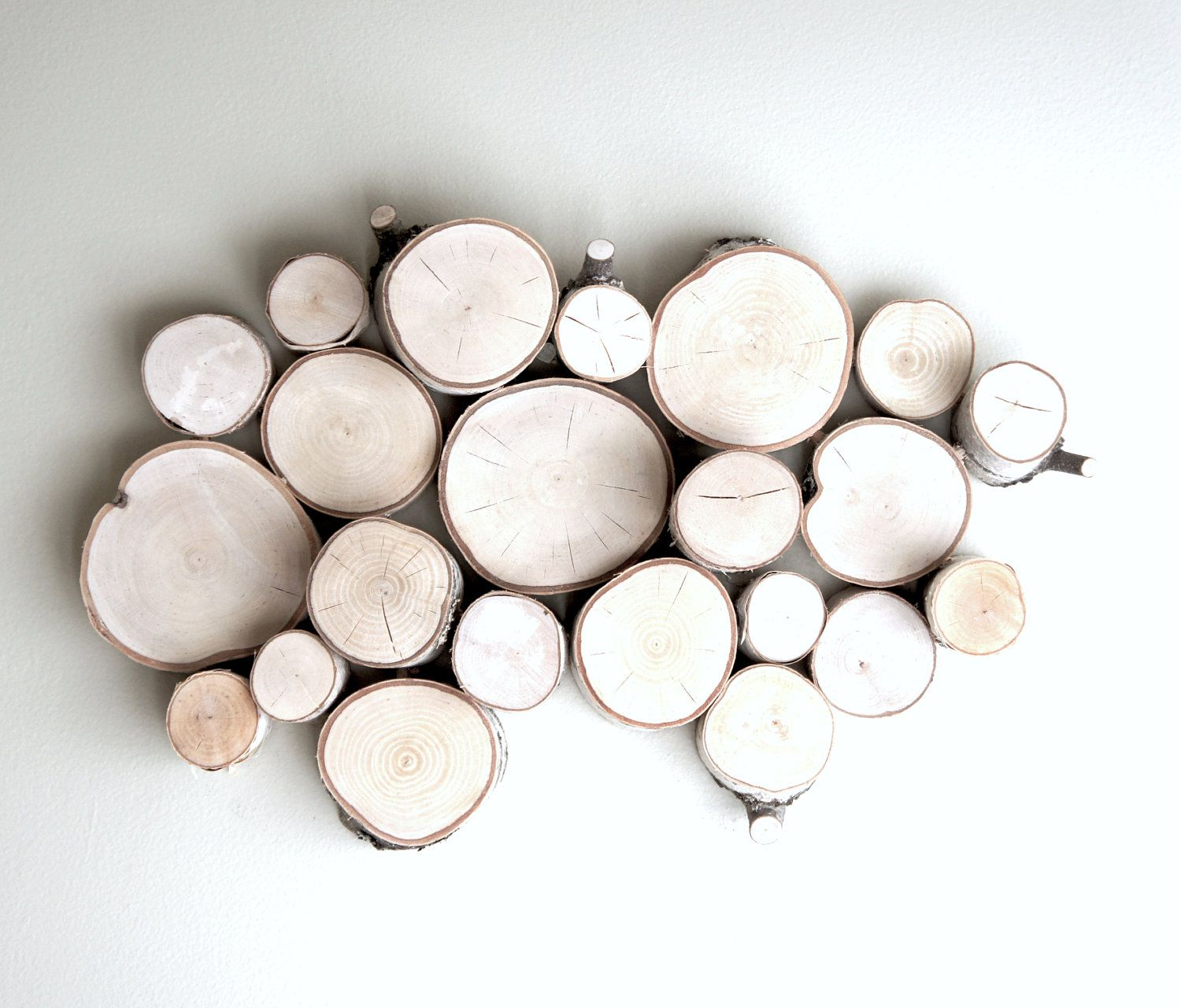 Natural white birch forest topography wall sculpture wood art