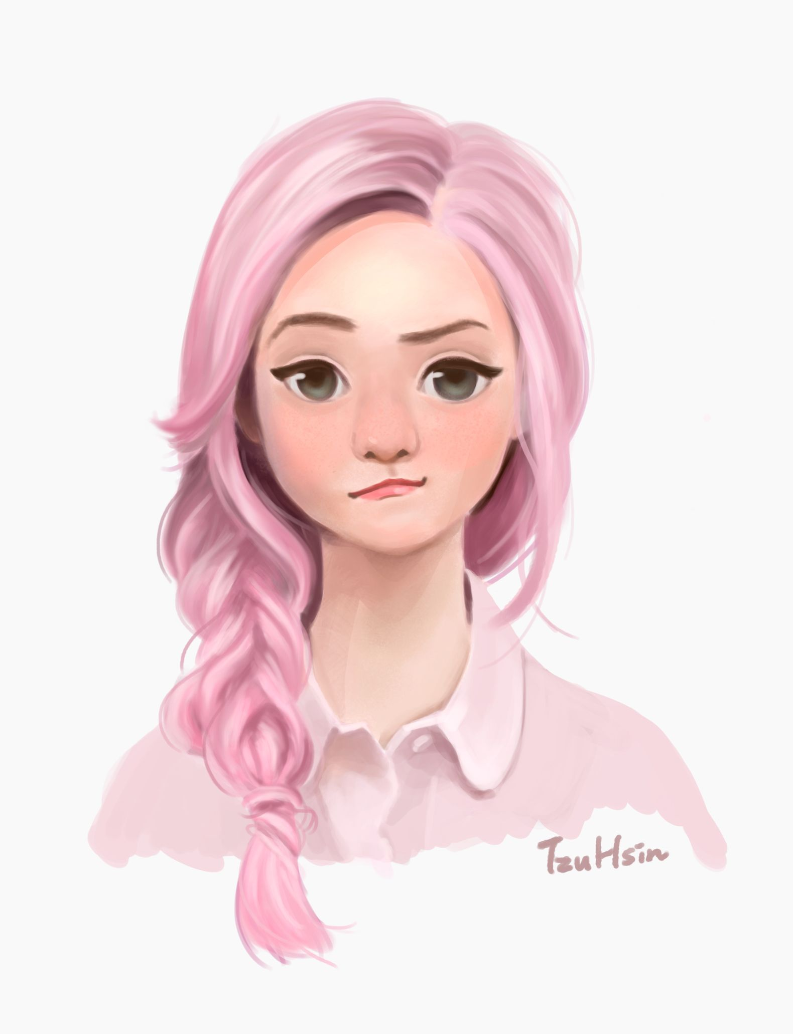 Girl With Pink Hair Drawing : drawing, Anime,, Characters, Hair,