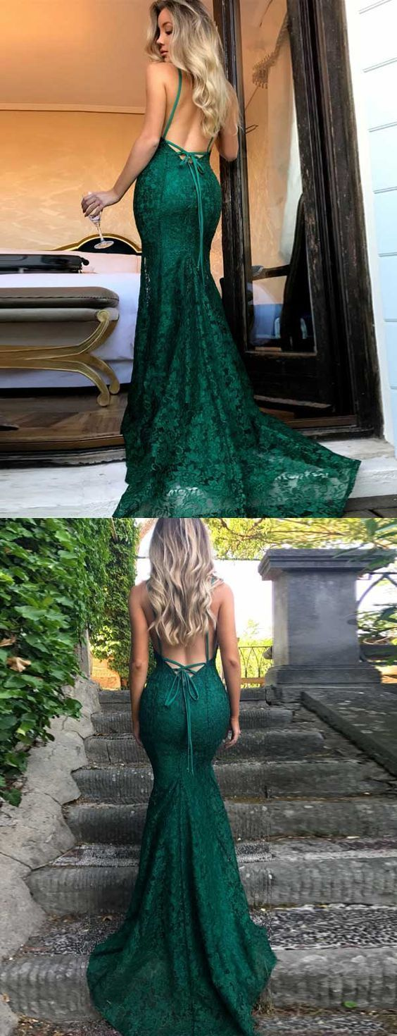 V neck dark green lace prom dress promheelslace prom heels