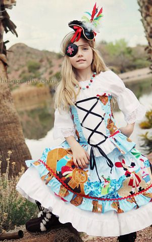 OMG! How beautiful is this dress!!!!Peter Pan Pirate Dress Girls Disney  by @StyleDesignStudio #halloween #kids #costumes