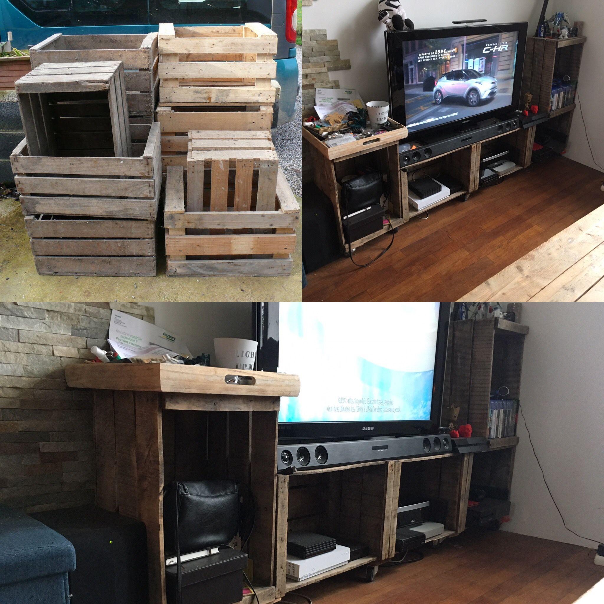 meuble tv avec des caisses de pomme