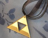 The Legend of Zelda  Inspired Triforce Symbol Acrylic Necklace in Mirrored gold