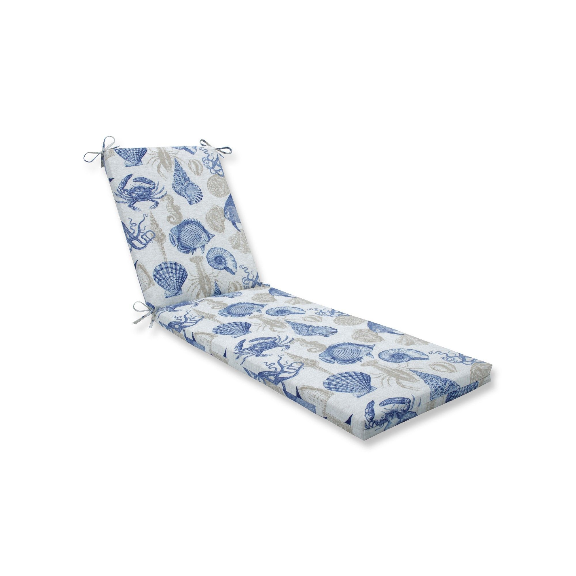 Indoor Outdoor Sealife Marine Blue Chaise Lounge Cushion Pillow