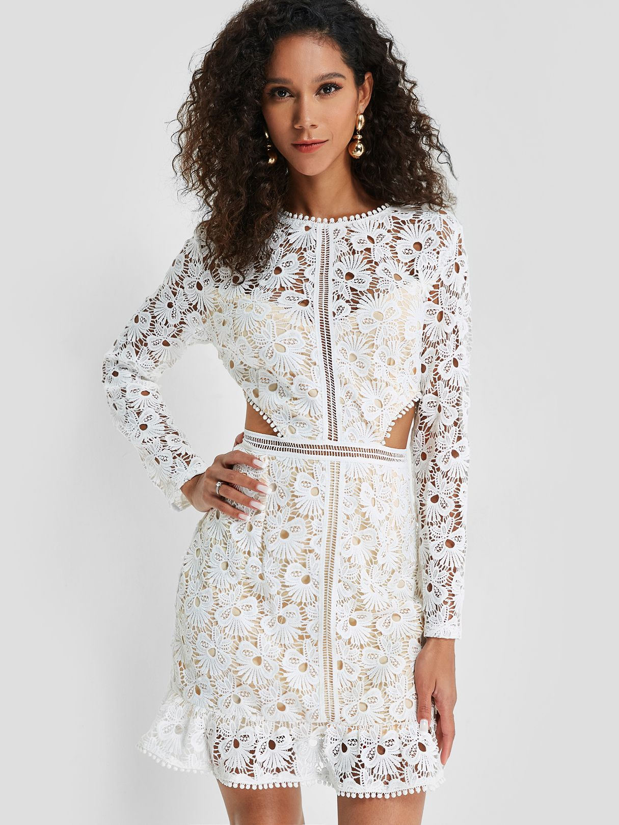 Extra 15 Your First Order On Yonis App Lace Dress Lace Peplum Dress Lace Dress With Sleeves [ 1620 x 1215 Pixel ]