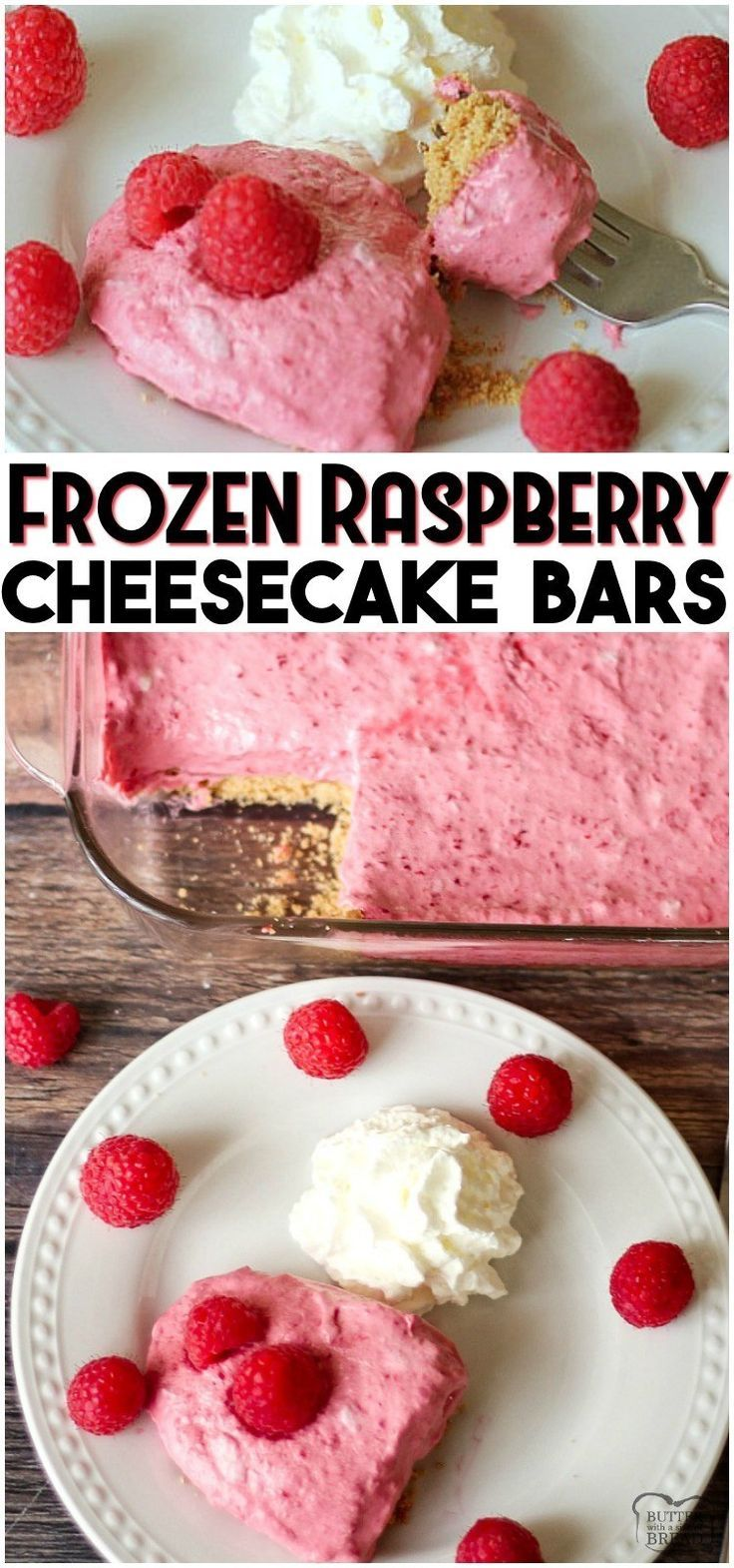 Frozen Raspberry Cheesecake Bars are a simple dessert made by combining cheeseca - Raspberries - Ideas of Raspberries #Raspberries -  Frozen Raspberry Cheesecake Bars are a simple dessert made by combining cheesecake & raspberries. Sweet creamy and delicious no-bake raspberry cheesecake recipe can be made ahead and comes together quick. #cheesecake #frozen #raspberry #simplecheesecakerecipe