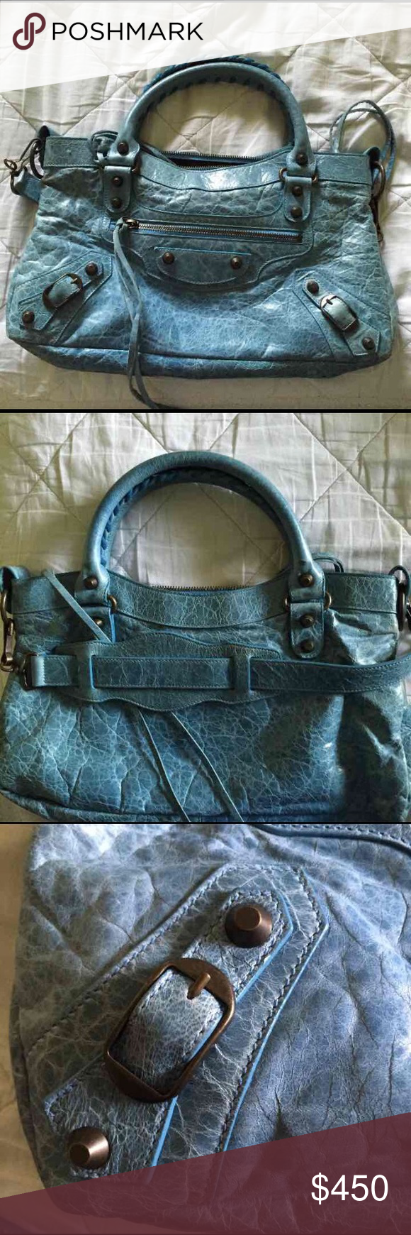 Balenciaga Bag Balenciaga First handbag. In a beautiful limited edition blue color. It's in amazing condition. No wear on the handles. No scratches or stains. Interior is in wonderful condition as well. Feel free to ask more questions and I can also send picture for anyone who wants them. Balenciaga Bags Shoulder Bags
