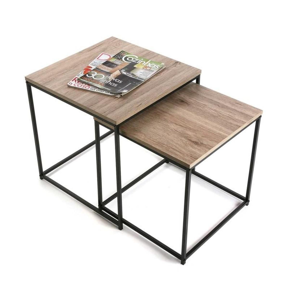 Tables Basses Ajustables Lot De 2 Table Basse Plateau Bois