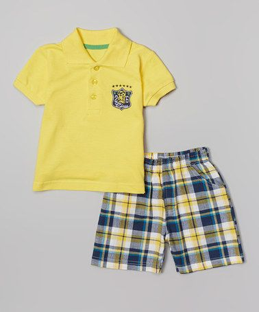 Another great find on #zulily! Yellow '26' Polo & Plaid Shorts - Infant & Toddler #zulilyfinds