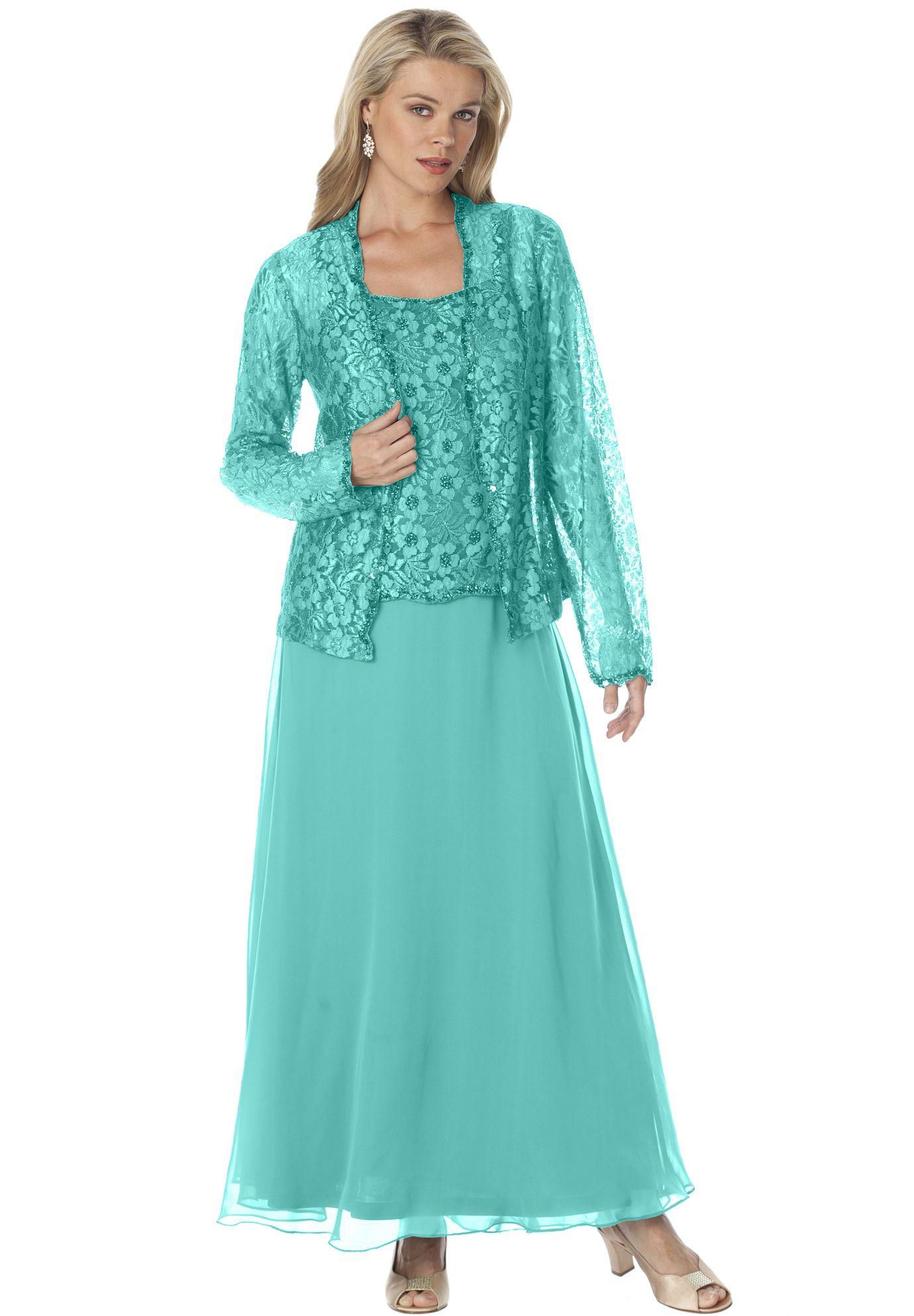 Beaded Lace Jacket Dress   Plus Size Summer Wedding   Roamans ...
