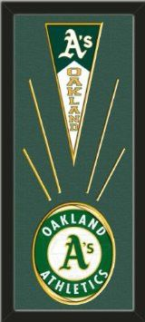 Oakland Athletics Wool Felt Mini Pennant & Oakland Athletics Team Logo Photo - Framed With Team Color Double Matting In A Quality Black Frame-Awesome & Beautiful