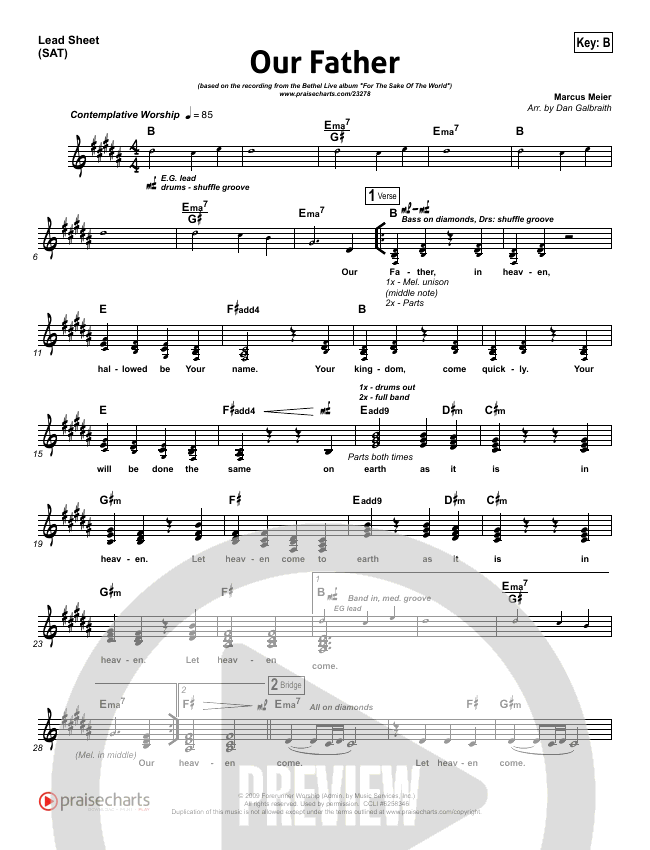Lead Sheet Sat In B P1 Bethel Our Father In 2018 Pinterest