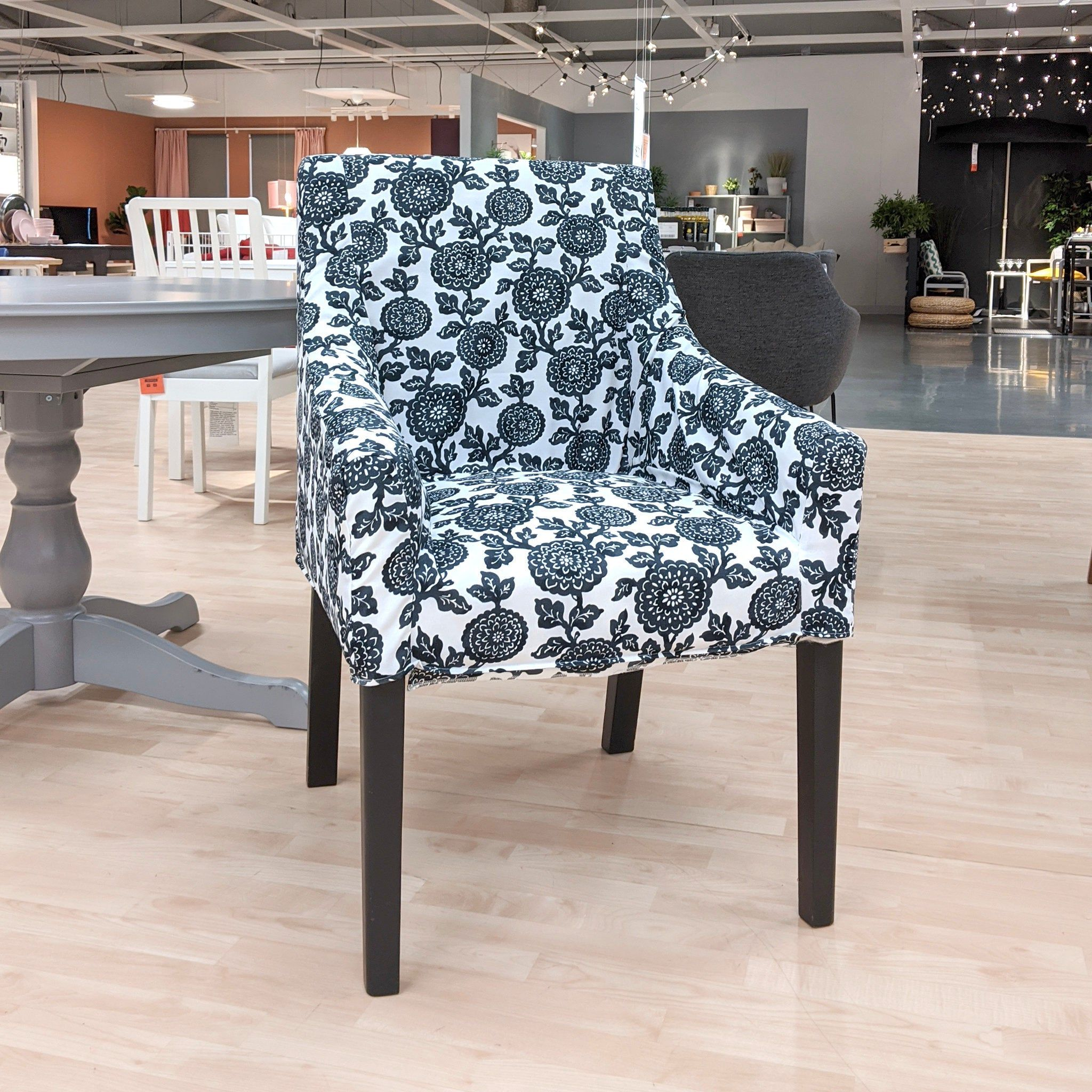 IKEA SAKARIAS Chair Slip Cover, Black Floral in 2020