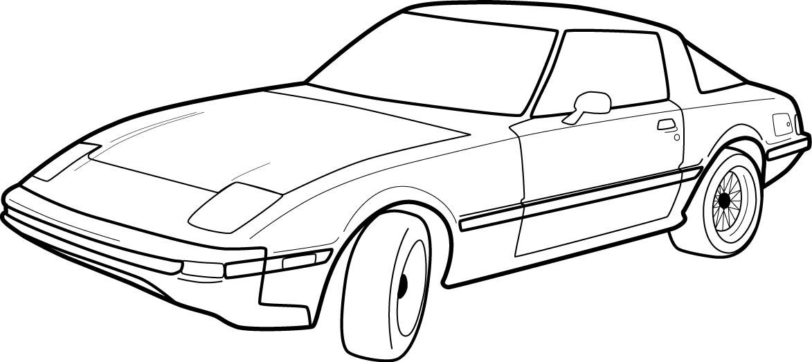 Old Car Drawings Side View Cartoon Outline Drawing