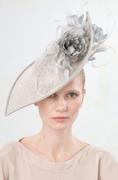Jane Taylor Millinery - Couture Collections, Peri - Petal upturn hat with rose & feathers. #passion4hats