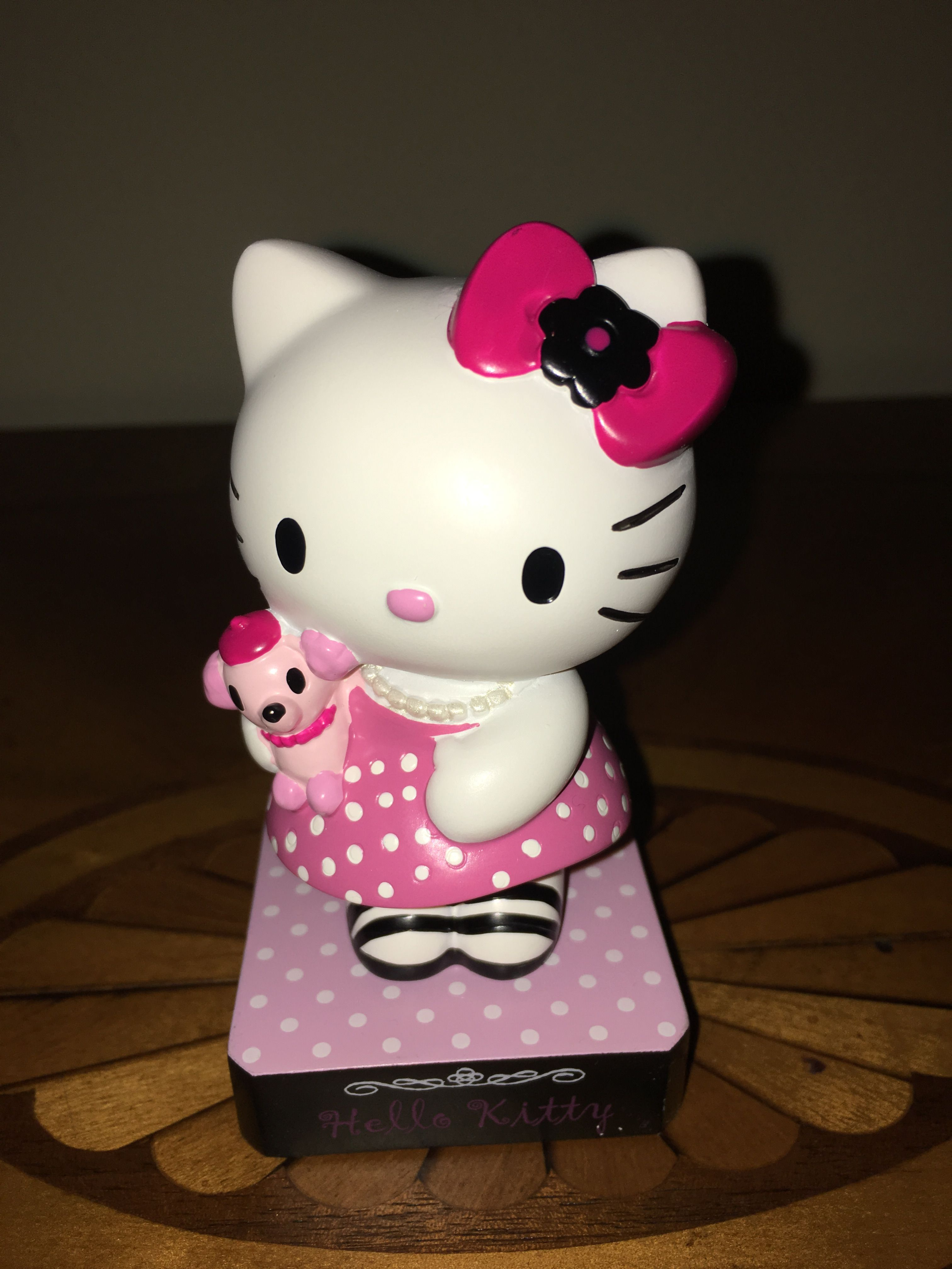 Hello Kitty Bobble Head Bobble Body Pink Polka Dot Dress