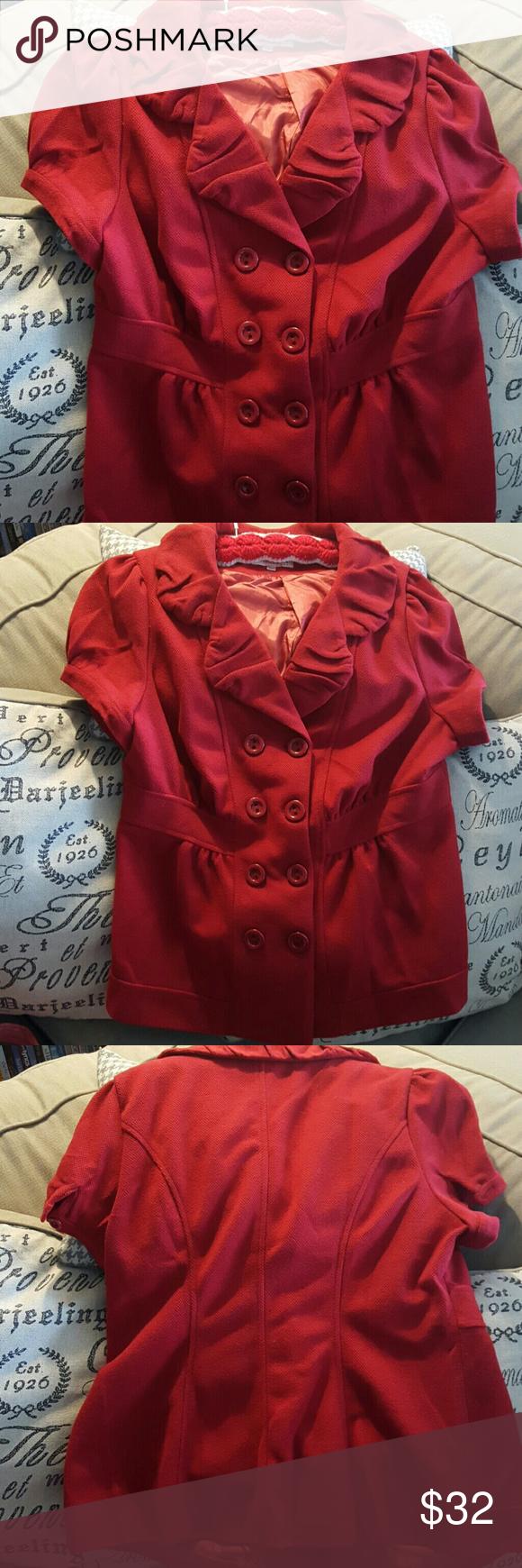 Beautiful deep red blazer High quality cap sleeve woman's blazer, double breastfed, ruffle collar. Marked 3x but I would say it fits more like a 1x. maranka Jackets & Coats Blazers
