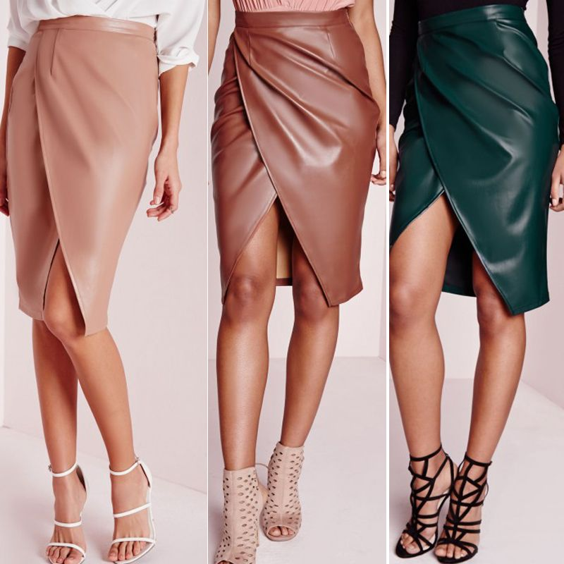 1f06c59c7435db Pas cher 2015 femmes Sexy PU Faux cuir taille haute jupe crayon Club ...