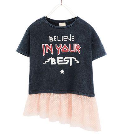 T Shirt Mit Volant Alles Sehen T Shirts Madchen 4 14 Jahre Kinder Zara Deutschland Shirt Skirt Shirts Mens Tops