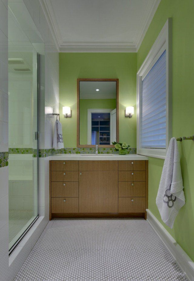 peinture pour salle de bain - idées élégantes et conseils utiles ... - Salle De Bain Vert Anis