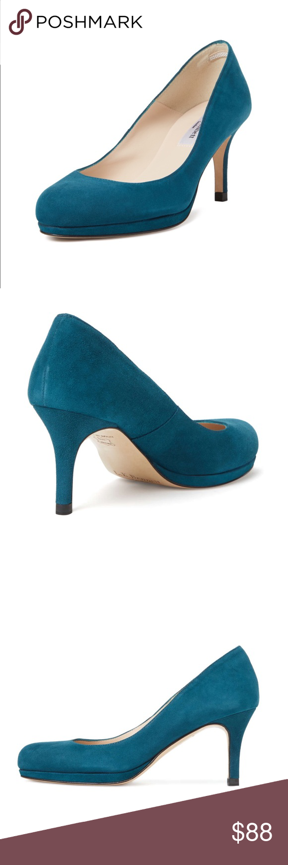 "NEW LK Bennett ""Sybila' suede pump! Sz 41 Gorgeous suede peacock blue LK Bennett Sybila pumps. New excellent condition.  Covered heel Leather insole and sole Measurements: Heel height 3"", platform sole ½""  Brand: L.K.Bennett  Origin: Spain LK Bennett Shoes Heels"