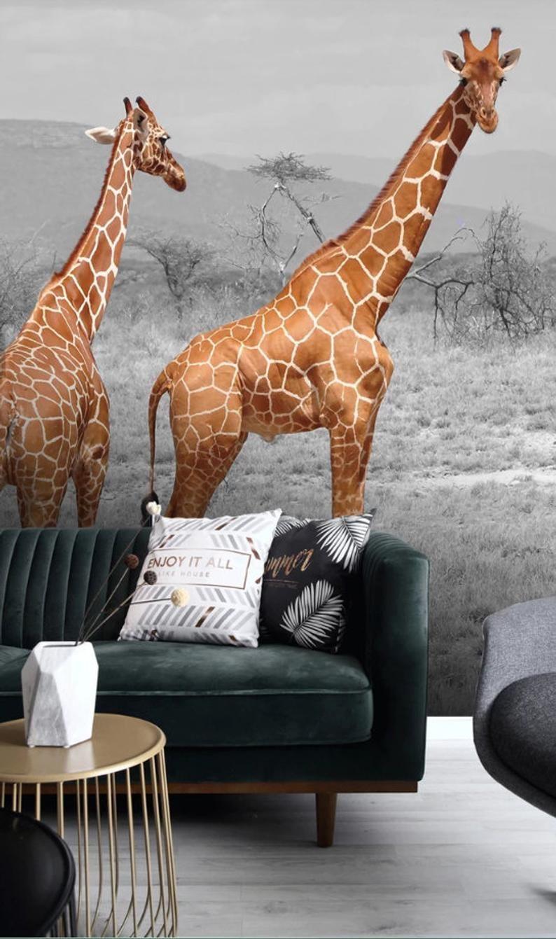 3D Realistic, Giraffe Wallpaper, Removable Self Adhesive