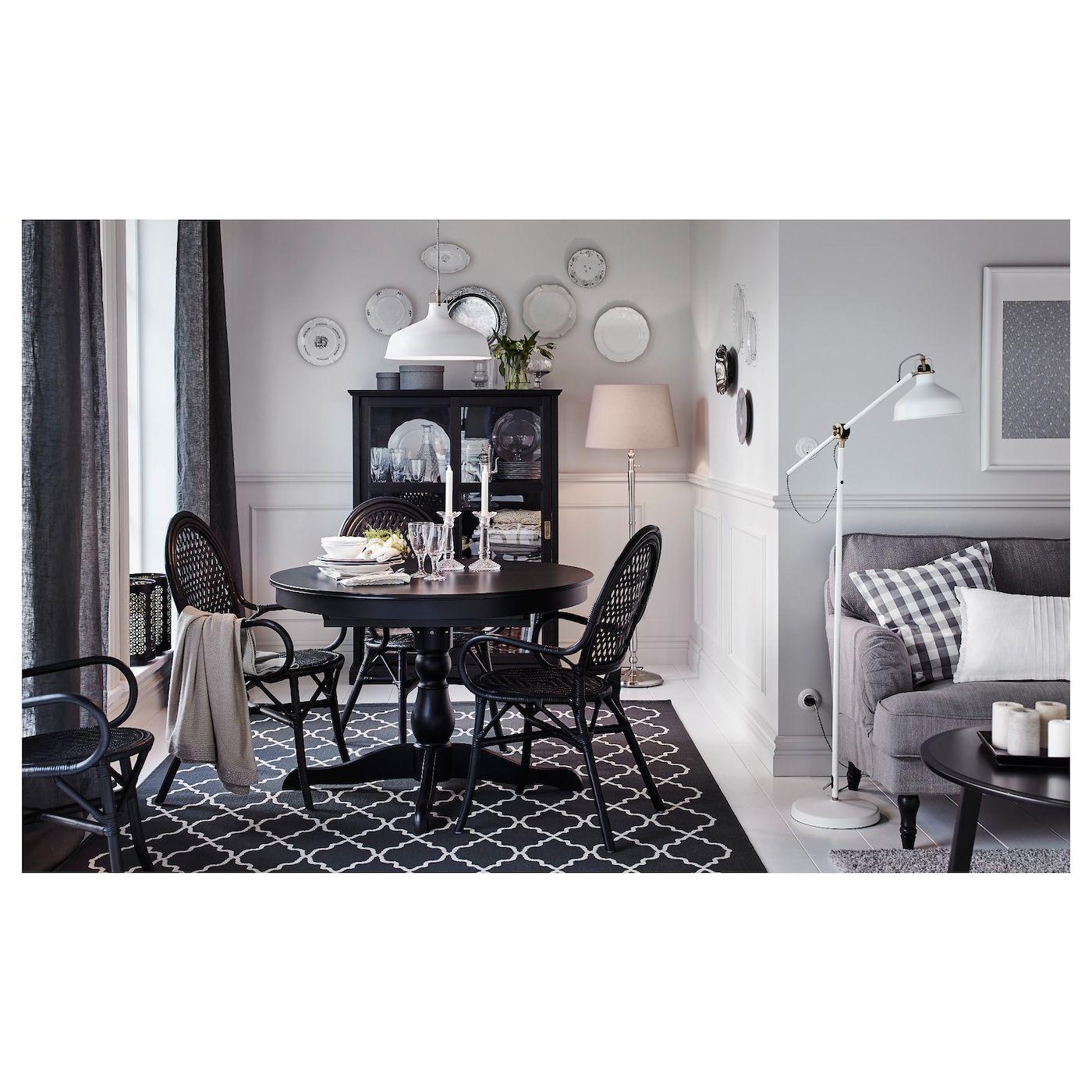 Hovslund Rug Low Pile Dark Gray Ikea Black Round Dining Table Dining Room Renovation Ikea
