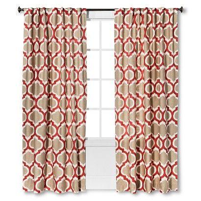 threshold linen-look fretwork curtain panel - coral starfish