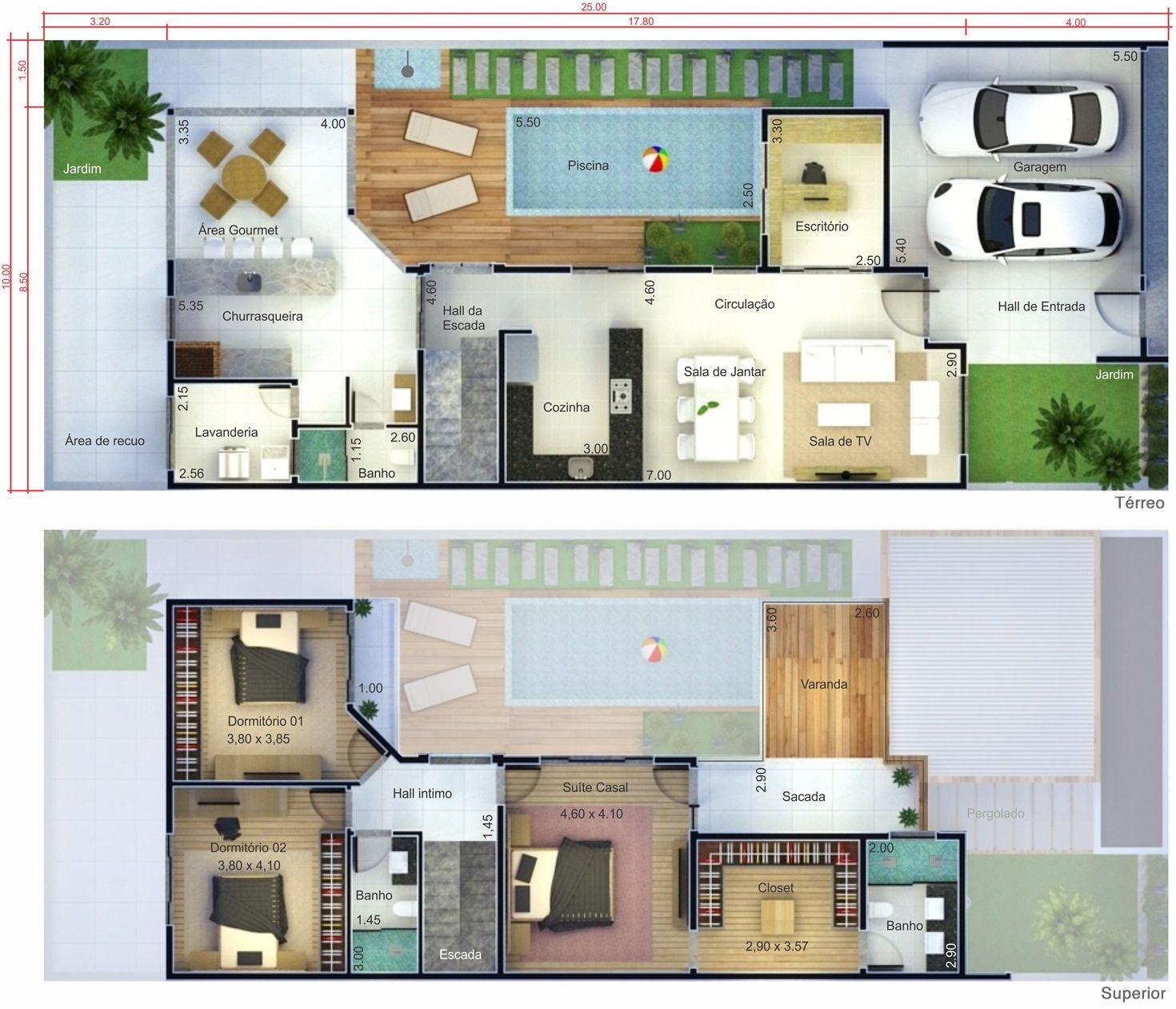 Projeto De Sobrado Com Terra O Planta Para Terreno 10×25 Casas