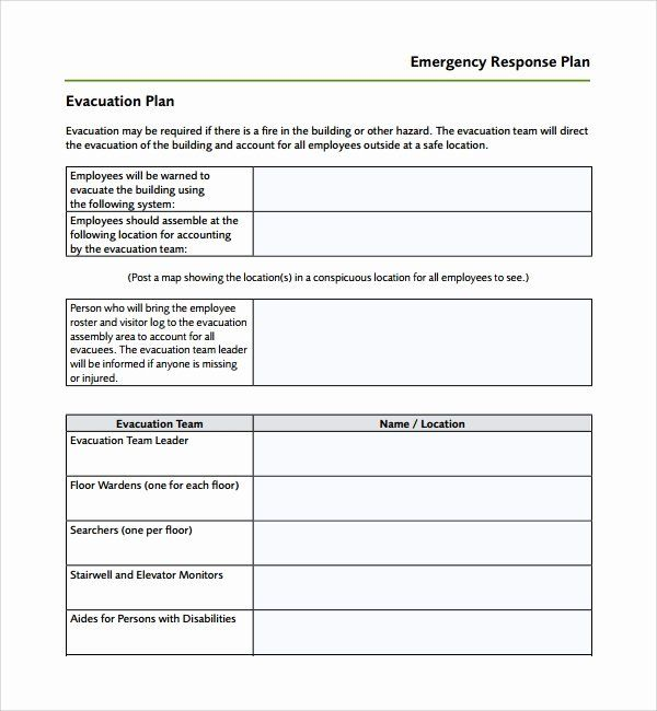 Safety Plan Template For Students Fresh Sample Emergency Response