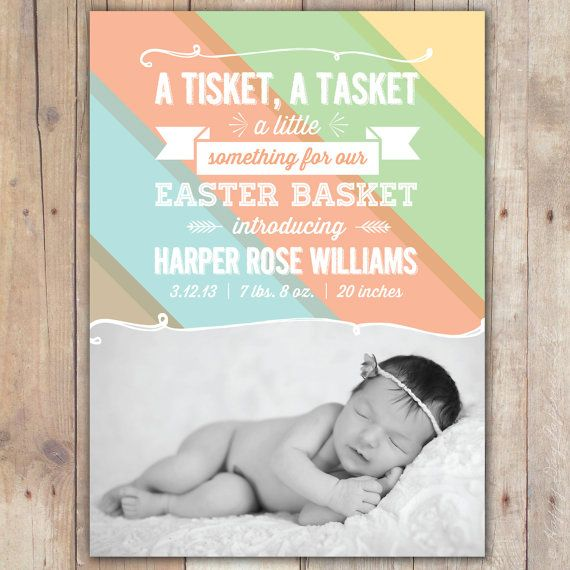 Easter Basket Custom Photo Baby Birth Announcement Card – Baby Announcement Cards Etsy