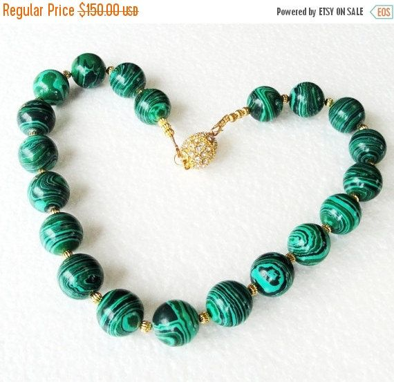 Big Sale Malachite Necklace  Green Round Gemstone  by BijiJewelry