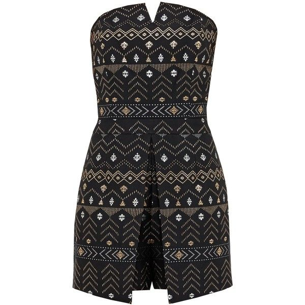 Ted Baker Eefa Deco Sparkle Bandeau Playsuit (12.925 RUB) via Polyvore featuring jumpsuits, rompers, black, women, ted baker, sparkly romper и playsuit romper