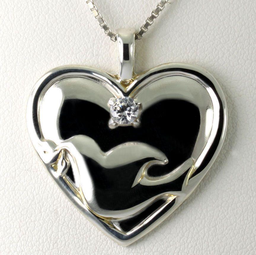 Sterling silver gorham serenity prayer dove heart pendant 18 box sterling silver gorham serenity prayer dove heart pendant 18 box chain necklace mozeypictures Images