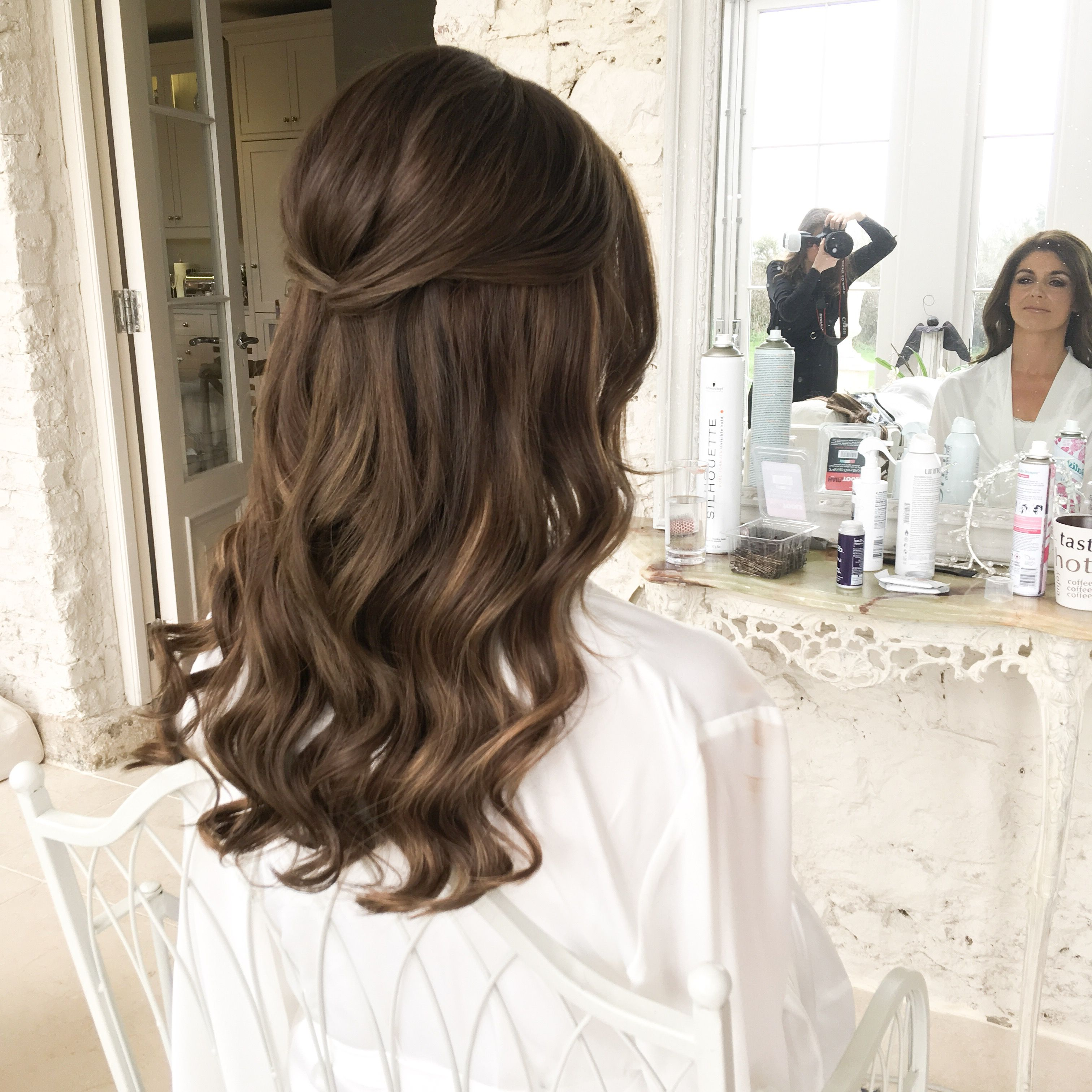 Half Up Hair Soft Wave Bridal With Images Long Hair Waves