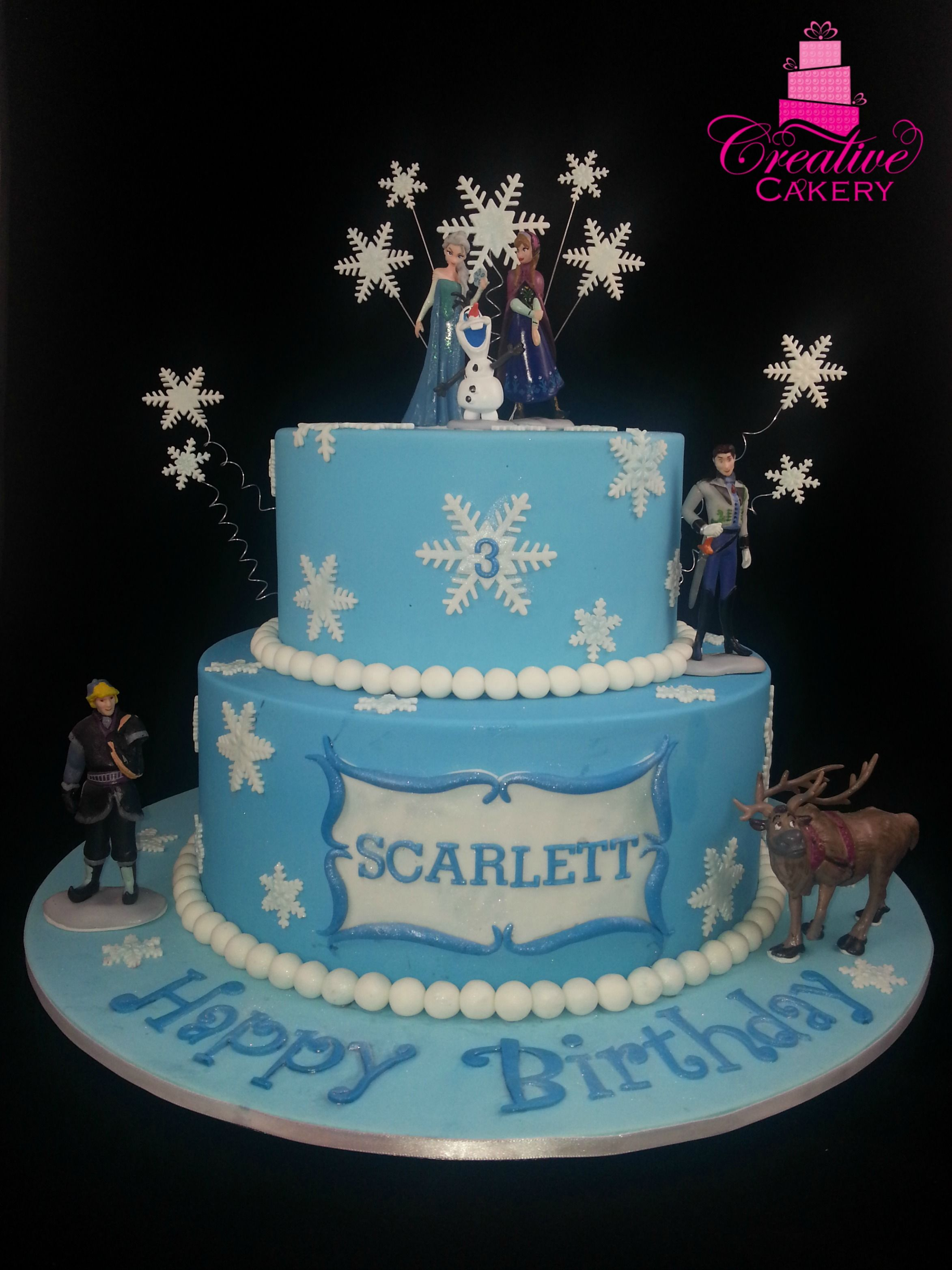 2 Tier Frozen Themed Cake Decorated With Snowflakes And Frozen