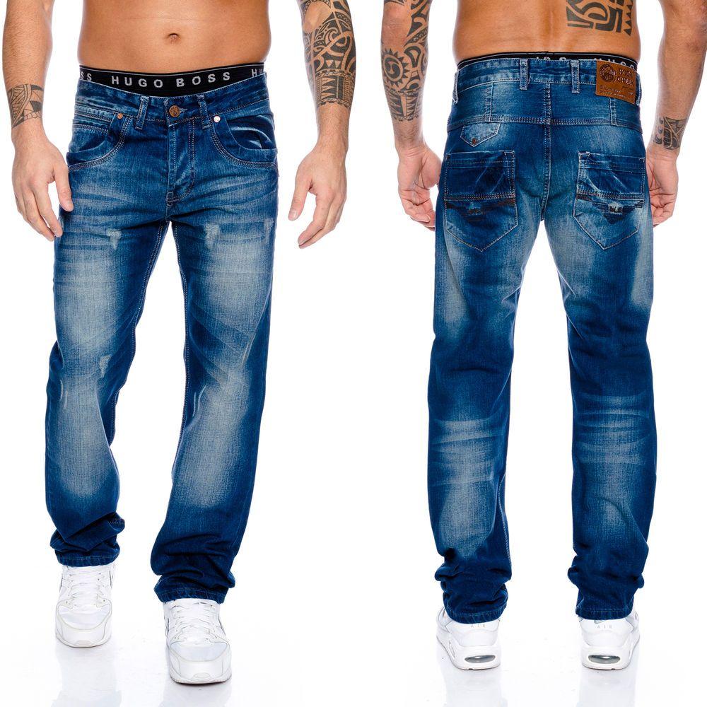 Details zu Rock Creek Coole Herren Raw Jeans Hose Dunkelblau Vintage Wash  Used Blau RC-2038 10514cf045
