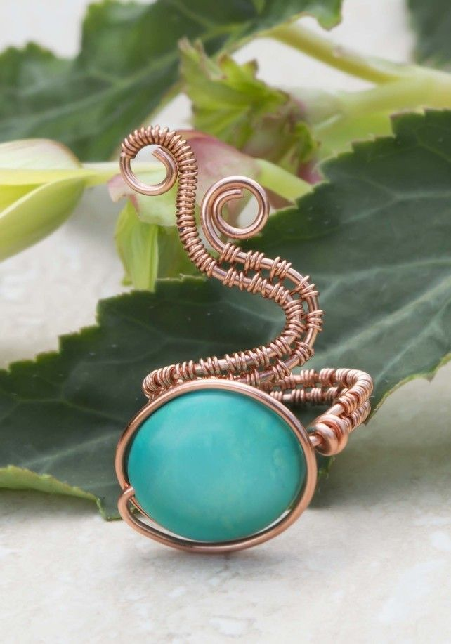 Copper ring with Turquoise Puffy Ovals  Gemstone.Adjustable ring. £15.00