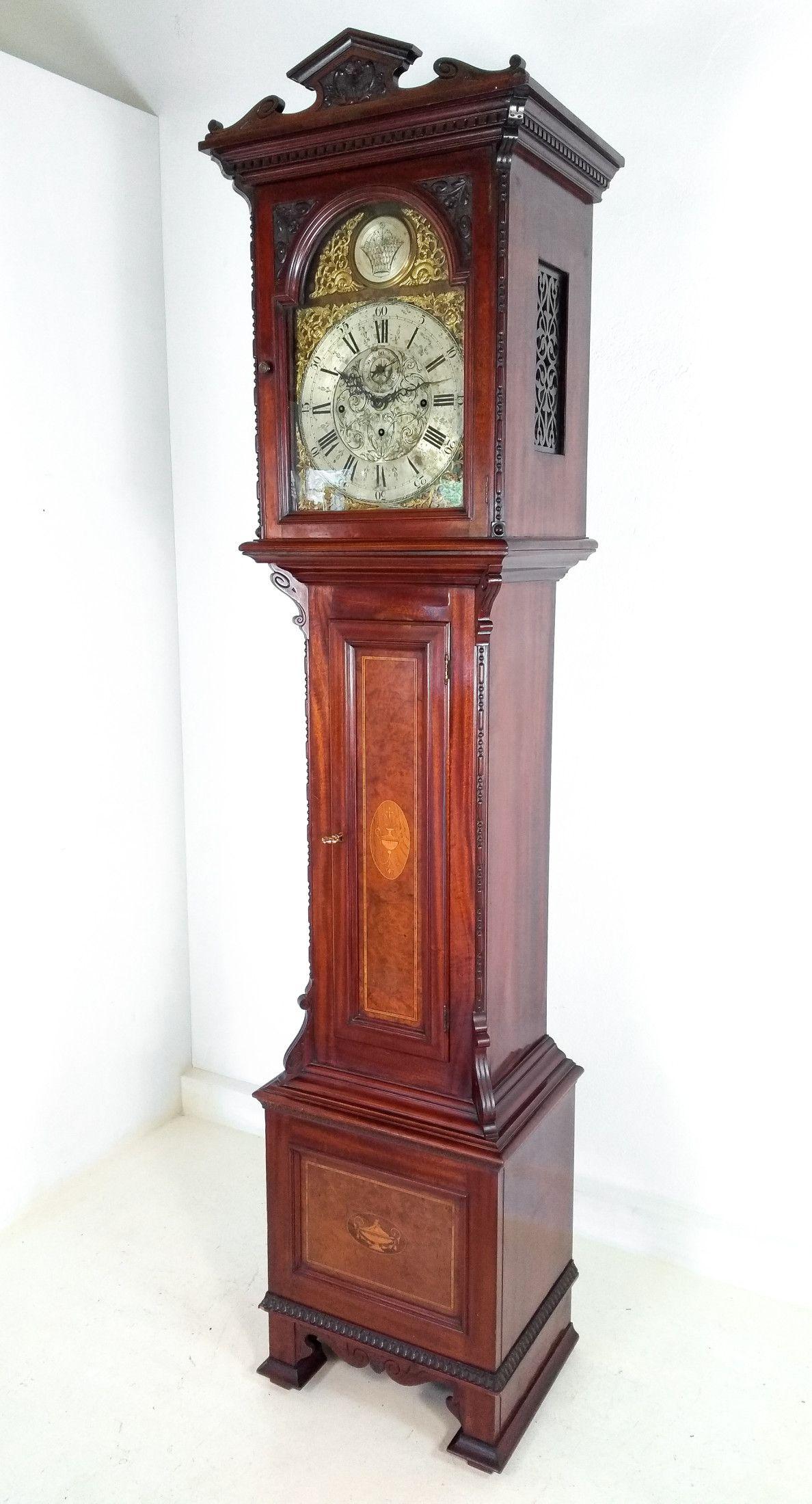 Orologio A Pendolo A Colonna In Legno Intarsiato Funzionante Secondo Ottocento Orologio A Pendolo Orologio Legno