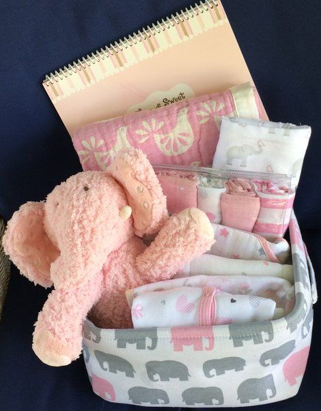 Eloise elephant baby basket pink and gray and white baby shower eloise elephant baby basket pink and gray and white baby shower gift for girl negle Images