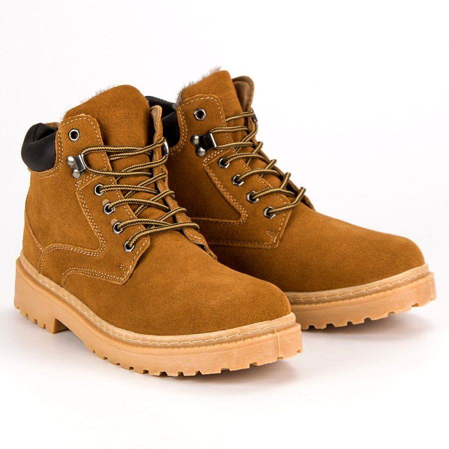 Trekkingowe Meskie Originalwalkmanshoes Original Walkman Shoes Brazowe Ocieplane Skorzane Trapery Shoes Boots Timberland Boots